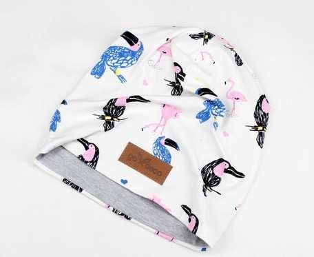 Kolorowa czapka beanie uniwersalna tukan