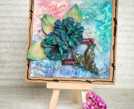 Kartka okazjonalna z ręcznie wykonanymi kwiatami