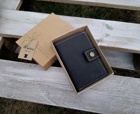 Duży portfel męski skórzany, czarny z jasną nitką