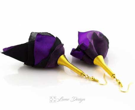 Kolczyki Silk duże fioletowe