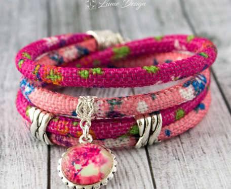 Bransoletka haftowana Pink Spring - duży rozmiar