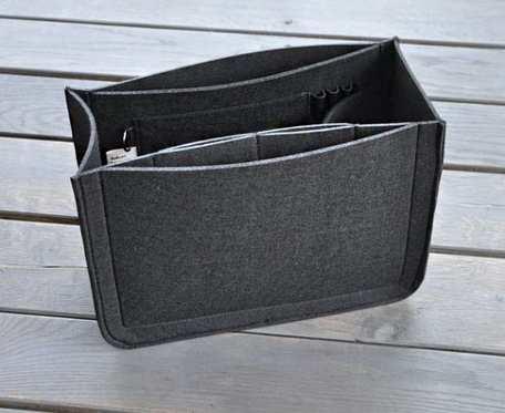 Organizer z filcu do torebki - czarny - szeroki