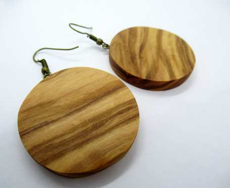 Drewniane kolczyki KOŁA OLIWKA duże