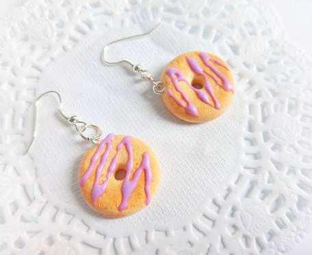 Kolczyki - donuty z lukrową polewą