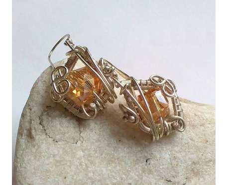 Kolczyki słoneczne kostki w srebrze