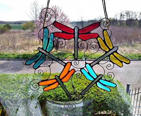 Zawieszka Kolorowe ważki Tiffany