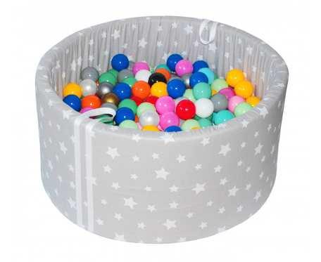 Suchy basen BabyBall z piłeczkami (250 szt) - grube dno 4 cm - Playing with the Stars - Prezent na Roczek