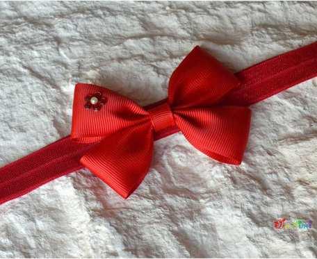 Opaska - klasyczna - czerwona kokarda