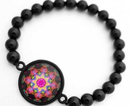 Bransoletka z kamienia czarnego onyksu czakra amulet etno MANDALA RÓWNOWAGI hippie boho orientalna Bransoletka z intencją na prezent