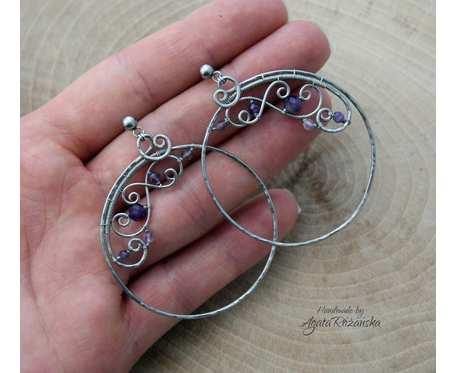 Kolczyki koła z ametystem, okrągłe, wire wrapping