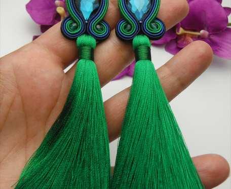 Zielone kolczyki sutaszowe sutasz soutache, chwosty, klipsy z chwostami