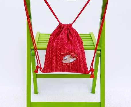 Plecak – Worek dla dzieci czerwony wzór, samolot i trampki