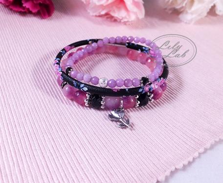 Zestaw bransoletek z agatów i rzemienia w odcieniach fioletu