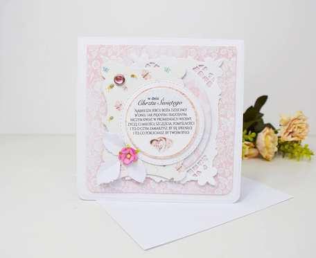 Różowa kartka na chrzest