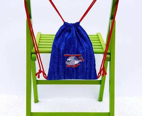 Plecak – Worek dla dzieci niebieski wzór, samolot i trampki
