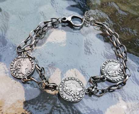 Bransoletka srebrna z monetami