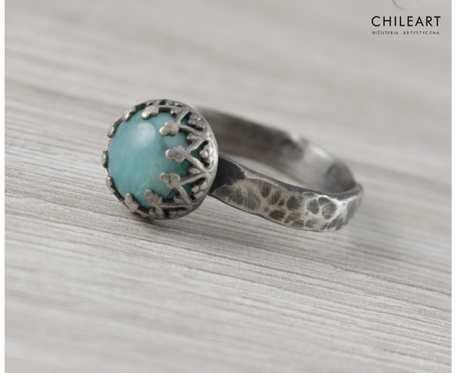 Amazonit i srebro pierścionek 1433a rozmiar 14