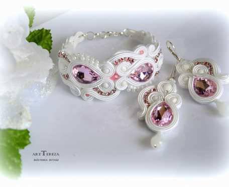 bransoletka i kolczyki,biżuteria sutasz,komplet  ślubny