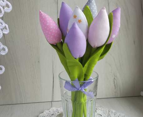 Tulipany z bawełny bukiet fiolet Dzień Kobiet