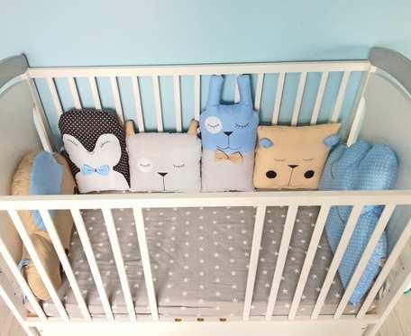 Ochraniacz do łóżeczka, modułowy, zwierzątka, poduszka