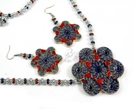 Komplet biżuterii chainmaille z ceramiką