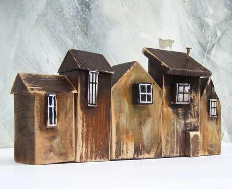 Drewniane domki dekoracyjne, 5 sztuk