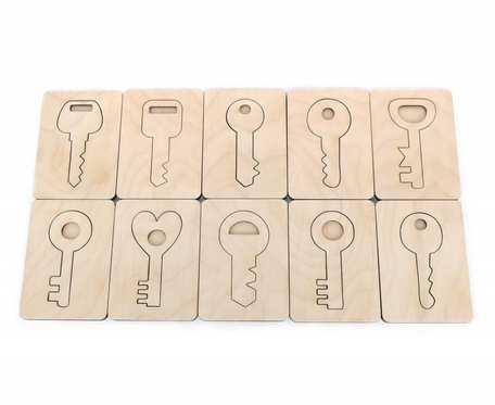 Układanka drewniana klucze, Montessori