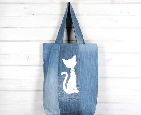 Wegańska torba na ramię dżinsowa kot