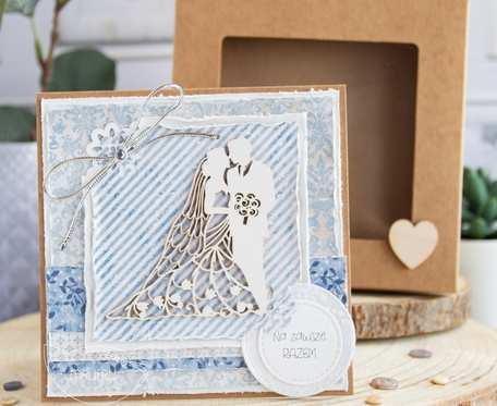 Przepiękna ślubna kartka w pudełeczku. Personalizowana treść (s02)