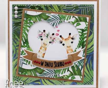 Egzotyczna kartka ślubna zakochane żyrafy KS1929