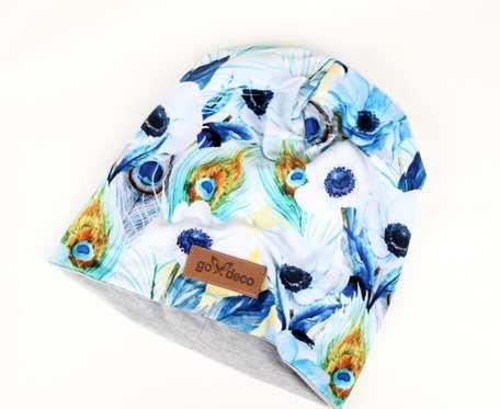 Kolorowa czapka beanie uniwersalna pawie oko