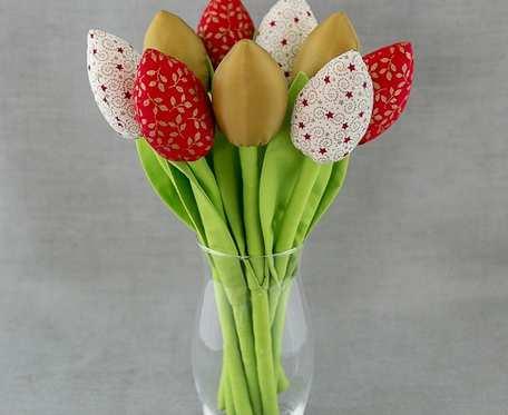 Tulipany bawełniane czerwono - złote