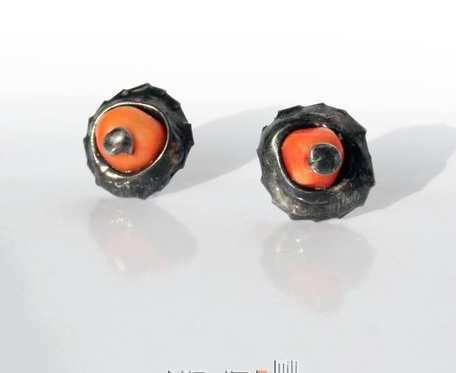Koralowy pomarańcz - kolczyki sztyfty