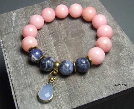 Różowy jadeit z sodalitem, elastyczna bransoletka