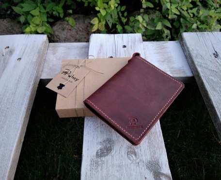 Mini portfel męski, skórzane etui na karty, bordo