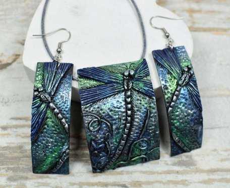 Komplet biżuterii z ważką - odcienie granatu, srebra i zieleni