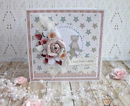 Kartka 3D na chrzest Winter Star Pink2 GOTOWA