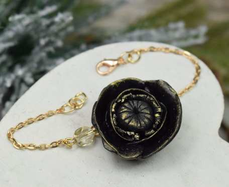 Elegancka bransoletka czarny kwiat