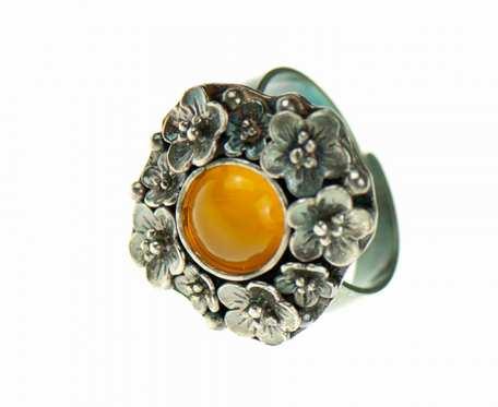 Ręcznie robiony pierścionek z agatem Marise a729