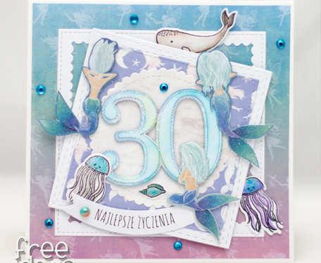 Kartka na 30te urodziny - kobieca z syrenkami KU1914