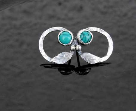 Kolczyki srebrne wkrętki z turkusem