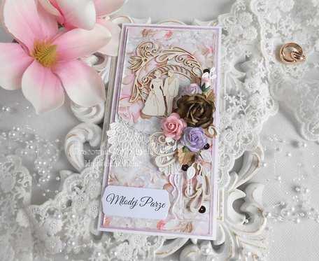 Ślubna kartka DL w pudełku 75