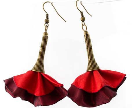 Kolczyki Silk czerwone bordowe
