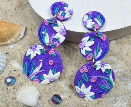 Oryginalne, fioletowe kolczyki kółka, potrójne