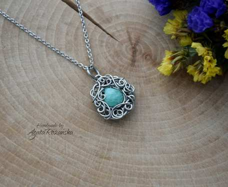 Wisiorek amazonit, wire wrapping, stal chirurgiczna
