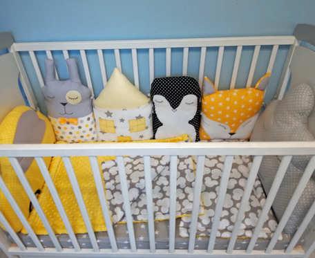 Ochraniacz do łóżeczka, modułowy, zwierzątka, poduszki