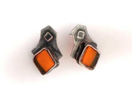 Pomarańczowe romby - kolczyki sztyfty