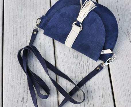 Skórzana torebka dla dziewczynki - granatowa