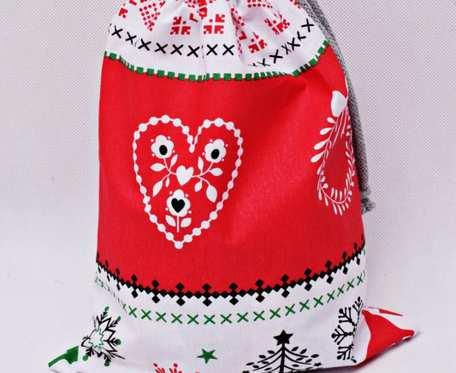 Worek na prezenty świąteczne, worek prezentowy święta, opakowanie na prezent