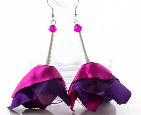 Kolczyki Silk fiolet/róż